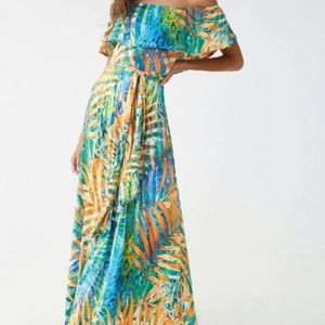 NEW-Forever 21 Abstract Palm Leaf Print Maxi Dress